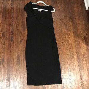 Black skinny rib dress